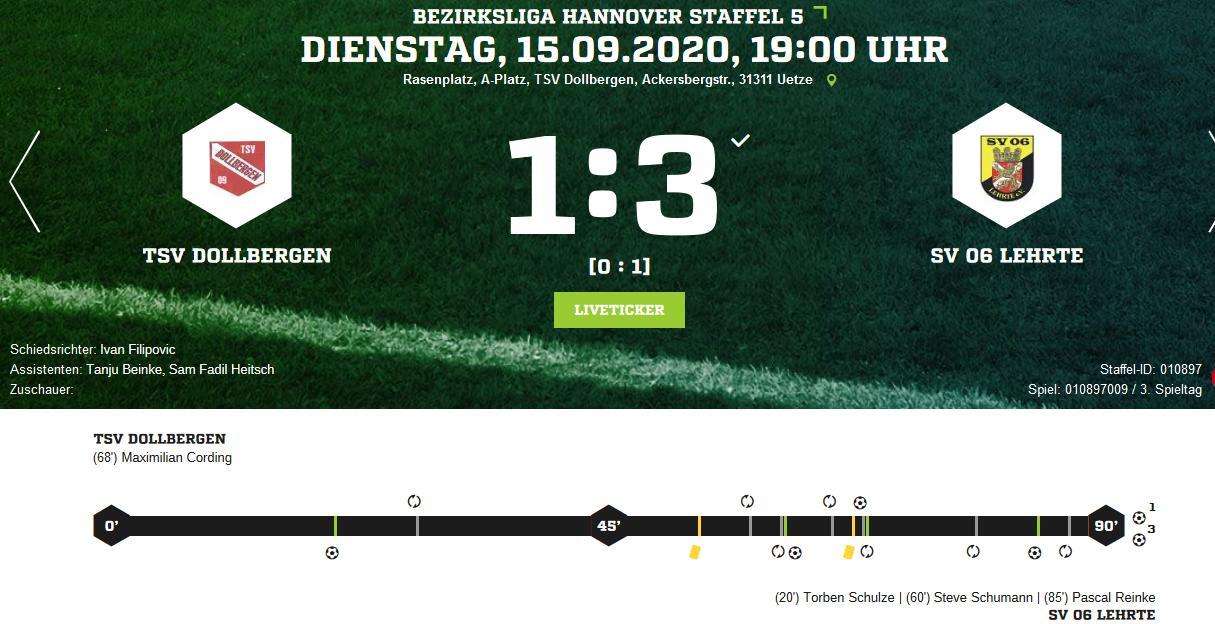 K1024 Dollbergen SV 06 Lehrte Ergebnis Bezirksliga Herren 15 09 2020